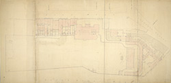 [Drawn plan of Carlton House and garden with adjoining property east and west]